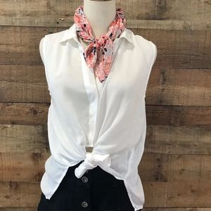 Anthropologie Cloth & Stone White Button Front Top